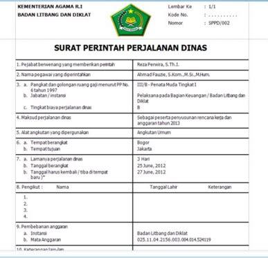 Surat Sppd by Surat Perintah Perjalanan Dinas Sppd Format Terbaru