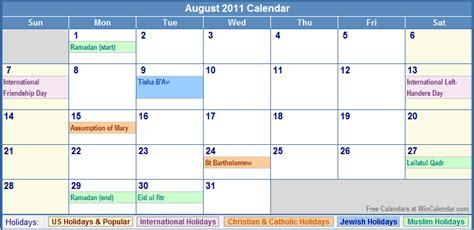 2011 Calendar With Holidays Printable