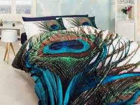 3d 100 cotton blue and green unique bedding set for double with peac