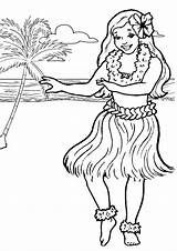 Hula Printable Colouring Luau Parties Birthday Aloha Hawaiian sketch template