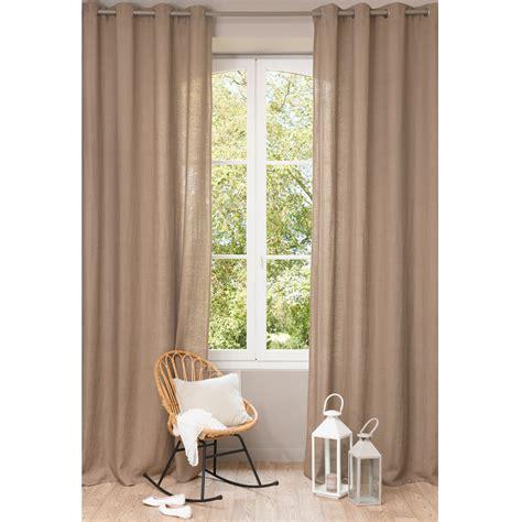 rideaux chambre ado rideau à œillets en lavé taupe 130 x 300 cm maisons