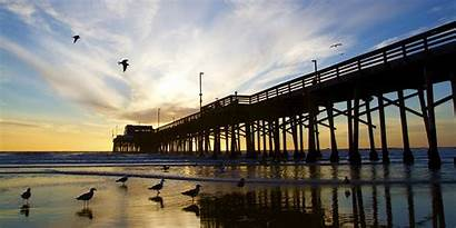 California Beach Newport Orange County Pier Sunset