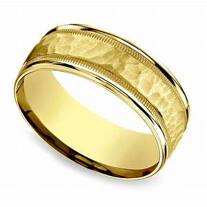 hammered milgrain men39s wedding ring in yellow gold With hammered wedding ring