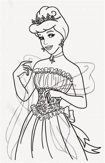 Cinderella Coloring Disney Pages Princess Printable Deviantart