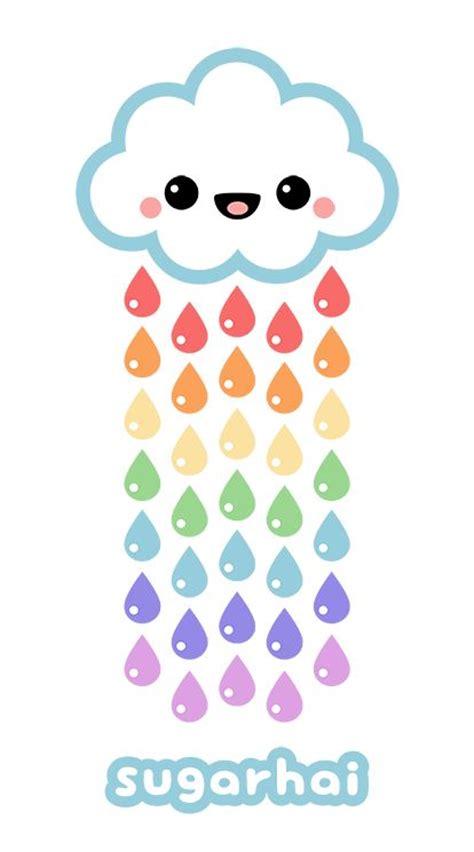 candy rain rainbow drawing cute kawaii drawings