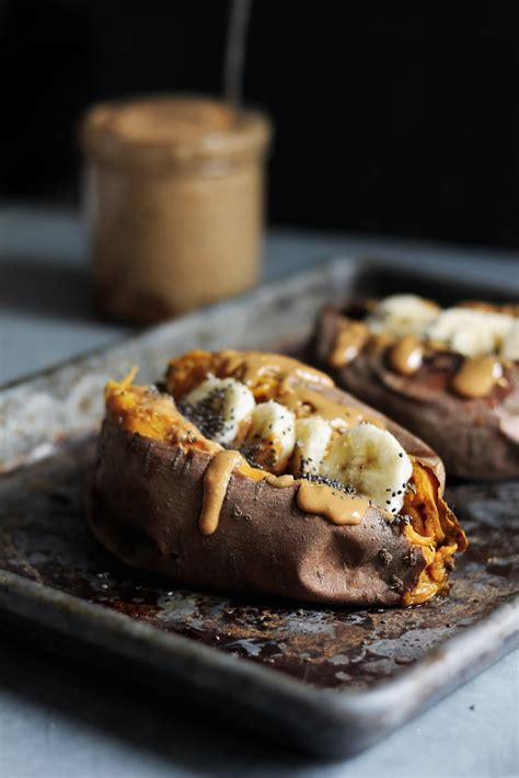 baked breakfast breakfast baked sweet potatoes with almond butter ambitious kitchen