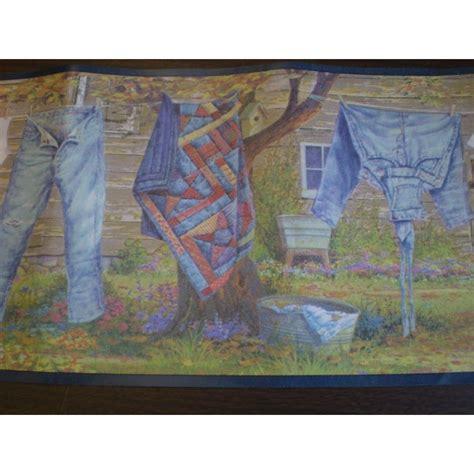 american denim laundry clothesline wallpaper border