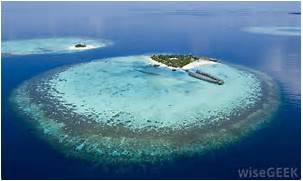 An atoll is surrounded by a coral reef   Atoll Island Definition