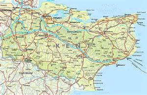Road Map of Kent England