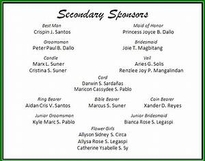 Secondary sponsors the santos dallo wedding for Wedding invitation sample secondary sponsors
