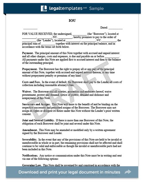 iou contract form free iou template create an iou form legaltemplates