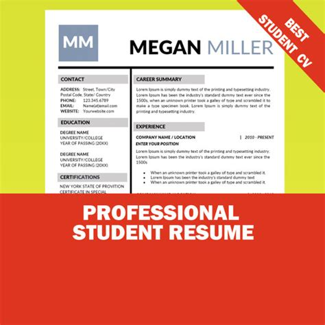 student sample resume templates wisestep