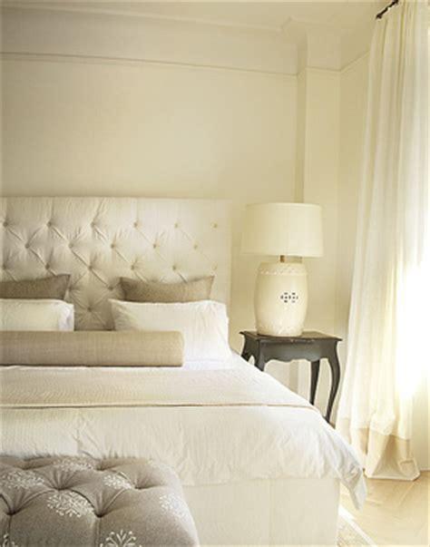 cream velvet tufted headboard contemporary bedroom