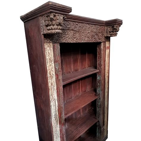 Indian Wood Bookcase by Large Carved Indian Bookcase And Shelf