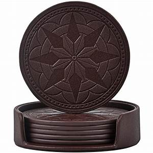 365park, Coasters, Pu, Leather, Coasters, For, Drinks, Set, Of, 6, With, Holder