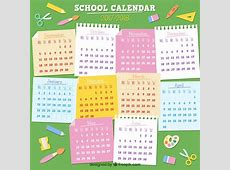 School calendar 20172018 with sticky notes Vector Free