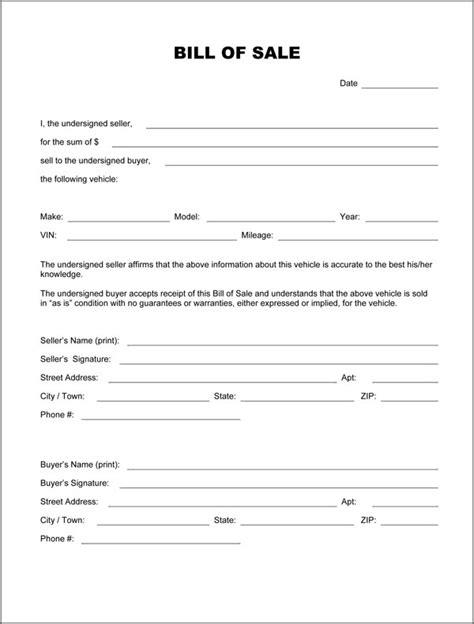 printable bill  sale form form generic