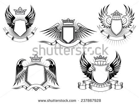 coat of arms template wings vector heraldry wings shield download free vector art