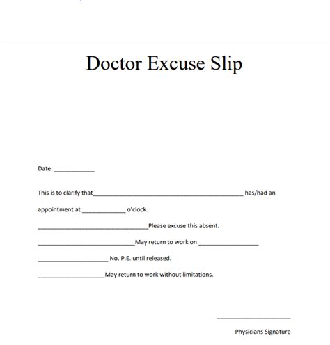 blank editable doctors note templates  format