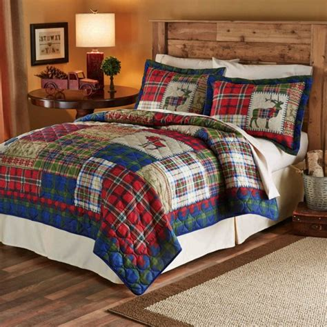 28053 mainstays bedding set mainstays winter cabin printed bedding quilt set green
