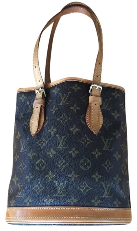 louis vuitton signature brown leather bucket tote tradesy