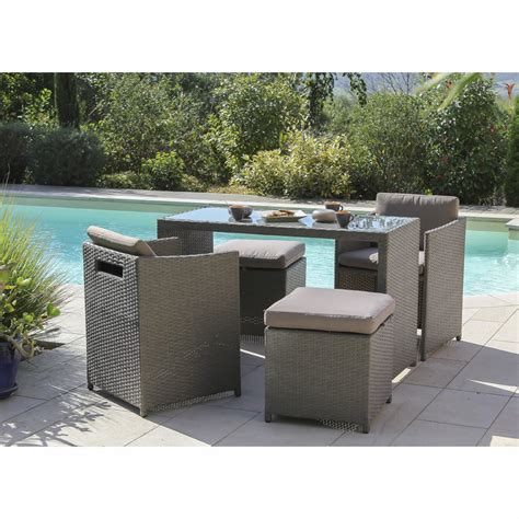 salon de jardin foggia r 233 sine tress 233 e gris 1 table 2 fauteuils 2 tabourets leroy merlin