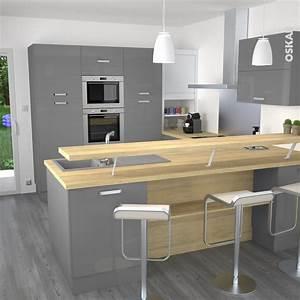 Cuisine grise moderne facade stecia gris brillant volet for Idee deco cuisine avec meuble salle a manger chene massif