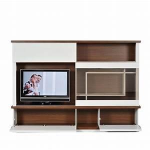 Regal Mit Spiegel : wohnwand livino 2 teilig wei walnuss dekor wohnwand regal mit uhr spiegel schrank ~ Sanjose-hotels-ca.com Haus und Dekorationen