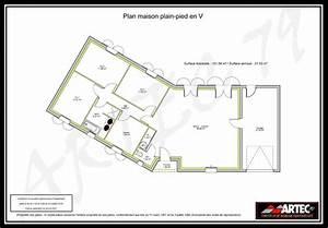 plan de maison en v plain pied With plan de maison plain pied en v