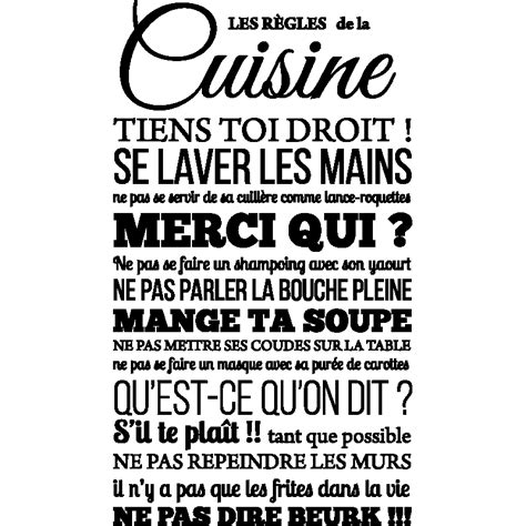 sticker de cuisine stickers muraux citations sticker les rgles de la cuisine