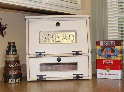 country bread kitchen rustic antiqued bread box vegetable bin wooden punched tin 2688