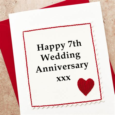 7th wedding anniversary handmade 7th wedding anniversary card by jenny arnott cards gifts notonthehighstreet com