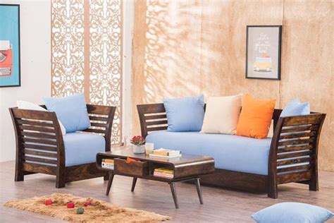 Sofas Designs by Buy Solid Wood Slant Sofa Set In India