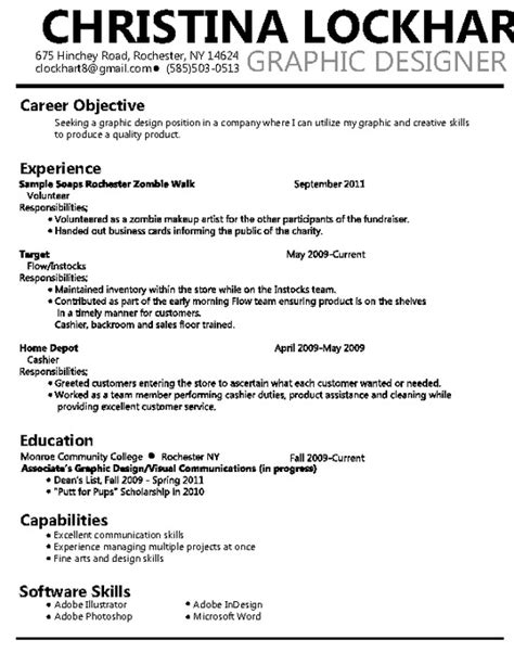 resume for graphic designers graphic design resume pdfsr com
