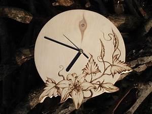 Pyrography, Wood, Wall, Clock, Wood, Burning