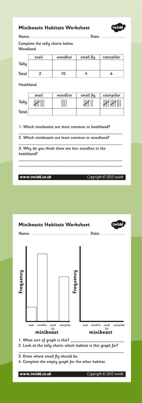 habitats minibeasts habitats graphs worksheets