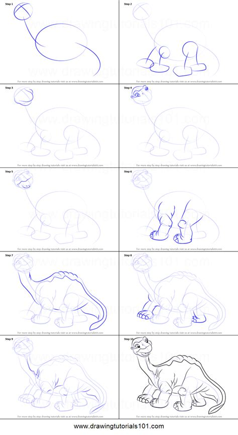 draw littlefoot   land  time printable