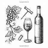 Wine Cheese Adults Crackers Drawing Coloring Anti Bottle sketch template