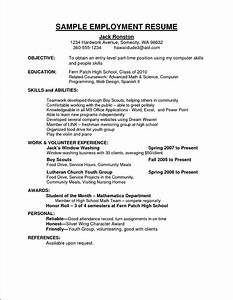Sample curriculum vitae for employment free samples for Employment resume examples
