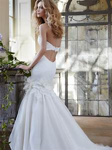 embroidered strapless wedding dress with back cut out With cut out wedding dress