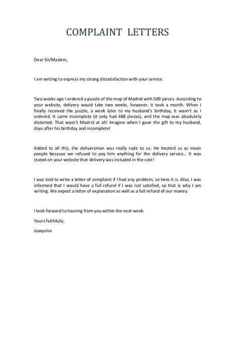 write  complaint letter   employee rudeness