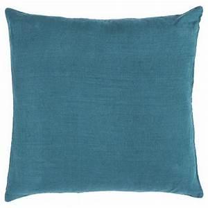Housse De Coussin Bleu : housse de coussin bleu paon carr e en lin lav harmony ~ Dailycaller-alerts.com Idées de Décoration