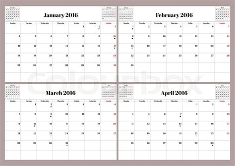 vector english planning calendar  year january