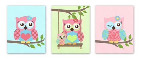 Aqua And Pink Nursery owls nursery art baby nursery art set of 3 prints