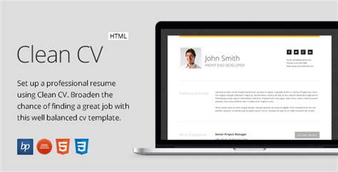 Intima Clean Responsive Resume Template Free by Free Clean Cv Responsive Resume Template 4
