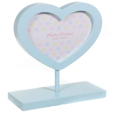 baby blue wooden heart shaped photo frame   baby blue stand