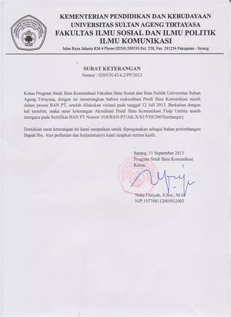 Contoh Surat Ban Pt by Sertifikat Akreditasi Prodi Ilmu Komunikasi Prodi Ilmu