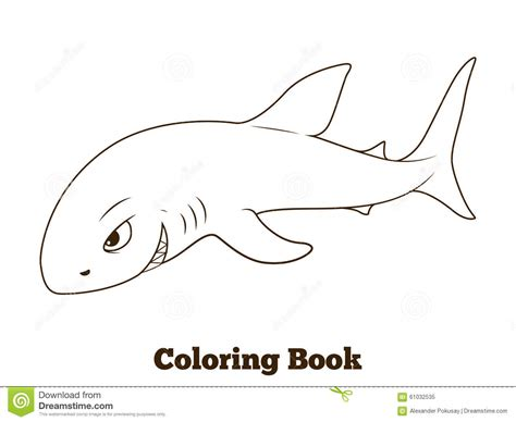 Coloring Book Shark Cartoon Educational Stock Vector