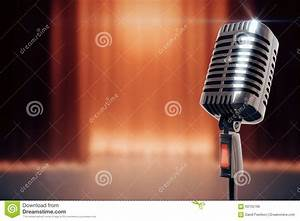 Vintage Microphone At Stage Background Stock Illustration ...
