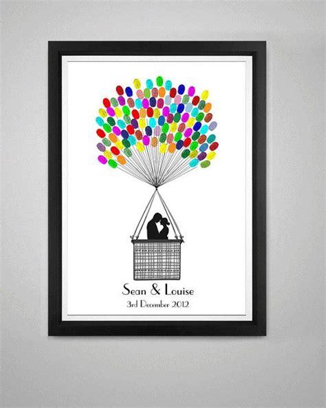 fingerprint hot air balloon wedding alternative guest book